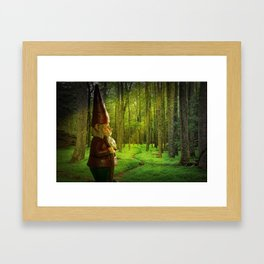 Gnome Traveler on a Forest Path Framed Art Print