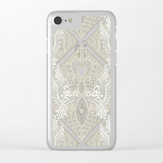 love bird lace blue Clear iPhone Case
