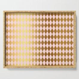 Royal gold on pink backround - Luxury geometrical pattern Serving Tray