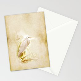 Antique style blue heron on textured background Stationery Cards
