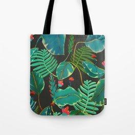 dark tropical red flowers Tote Bag