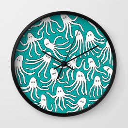 A Party of Handicapped Octopi III - Blue-isch Wall Clock