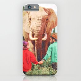 Walk With the Animals-Couple and Elephant iPhone Case