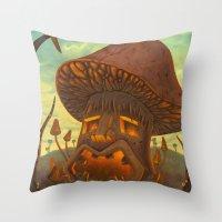 tiki Throw Pillows featuring Tiki Shroom by Thomas W Lynch III