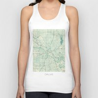 dallas Tank Tops featuring Dallas Map Blue Vintage by City Art Posters