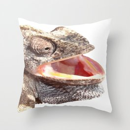 Chameleon with Happy Smiling Expression Vector Throw Pillow
