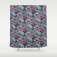 dahlia Shower Curtains featuring Dahlia by ravynka