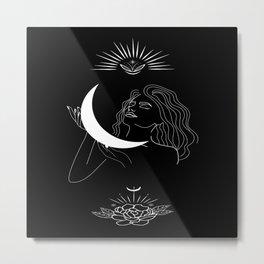 Modern minimalist female line drawing, woman holding crescent, mythology and mystical illustration Metal Print