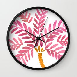 Pink Palm Tree Wall Clock