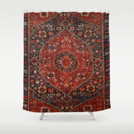 Persian Joshan Old Century Authentic Colorful Red Rusty Blue Vintage Rug Pattern Shower Curtain