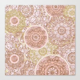 Rosey Gold Mandalas Canvas Print