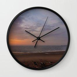 Dawn on Tynemouth Beach Wall Clock