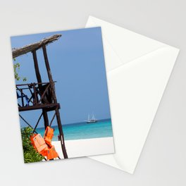 Life guard tower at a dream beach Stationery Cards