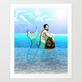 Melancholy Merman Art Print