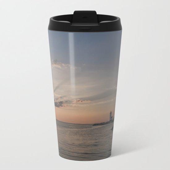 Sunbeams at Annisquam lighthouse Metal Travel Mug