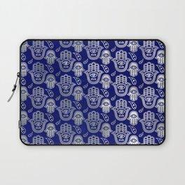 Hamsa Hand pattern - pearl and silver on lapis lazuli Laptop Sleeve