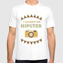 I'm not a hipster camera blue T-shirt