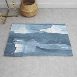 Blue gray watercolor Rug