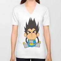 vegeta V-neck T-shirts featuring Monkey Vegeta by Kame Nico