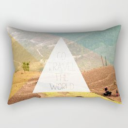 Go travel the world - rice field and geometric typography art Rectangular Pillow