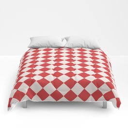 Red and White Checkered Diamond Pattern Comforters
