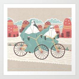 Bike nuns Art Print