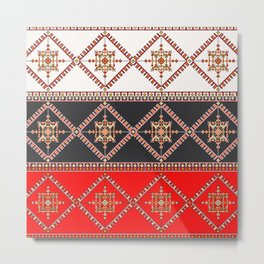 Traditional Romanian embroidery pixel Metal Print
