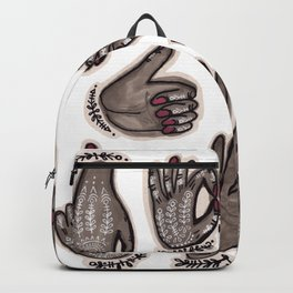 hand gestures and white henna tattoo Backpack