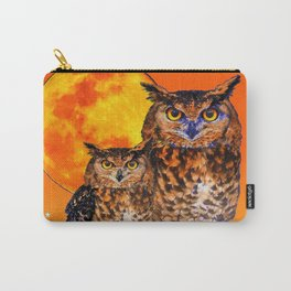 OWLS IN FULL MOONSCAPE NIGHT ORANGE ART Carry-All Pouch