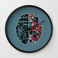 brain Wall Clocks featuring Brain by BlueLela