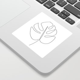 Abstract monstera tropical leaf line art Sticker