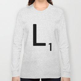 Letter L - Custom Scrabble Letter Tile Art - Scrabble L Initial Long Sleeve T-shirt