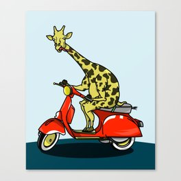 Giraffe riding a moped Canvas Print