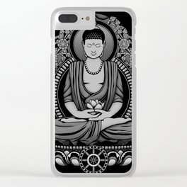 Gautama Buddha White Floral Clear iPhone Case