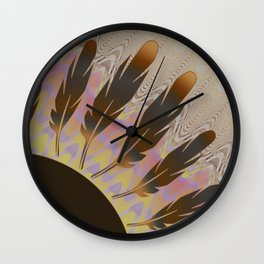 Boho Feather Sun and Wavy Lines Wall Clock