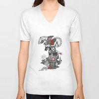 england V-neck T-shirts featuring England Doodle by Rebecca Bear