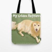 golden retriever Tote Bags featuring Golden Retriever by Bark Point Studio