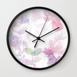 Blooming blush and purple watrclolor Wall Clock