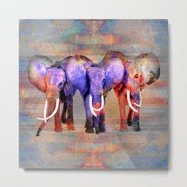 Watercolor effect  Elephant Digital Art Metal Print