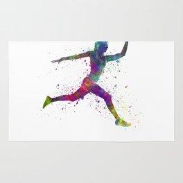 Woman runner running jumping Rug