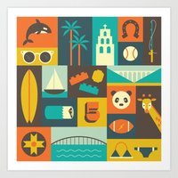 san diego Art Prints featuring San Diego  by Ariel Wilson