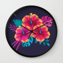 Neon flowers Wall Clock