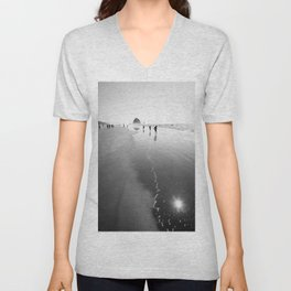 Running near Haystack Rock - Black and White Fine Art Print Unisex V-Neck