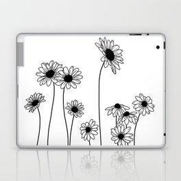 Minimal line drawing of daisy flowers Laptop & iPad Skin