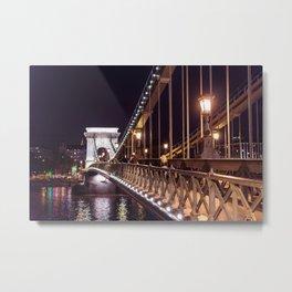 Széchenyi Chain Bridge in Budapest Metal Print