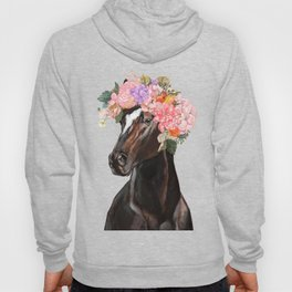Horse with Flowers Crown in Pink Hoody