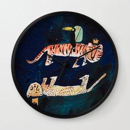 Tiger, Cheetah, Toucan Painting Wall Clock