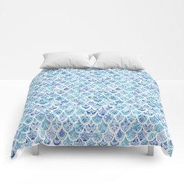 PAISLEY MERMAID Watercolor Scale Pattern Comforters