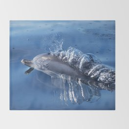 Dolphins and bubbles Throw Blanket