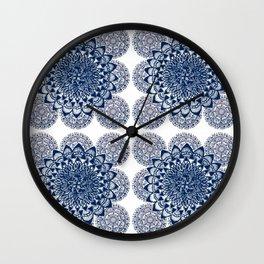 Navy and White Floral Mandalas Wall Clock